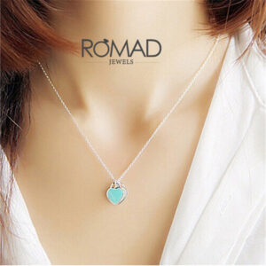 ROMAD-Stainless-Steel-Heart-Necklace-Pendant-Green-Pink-Charm-Women-Tiff-Brand-Design-New-York-Choker4