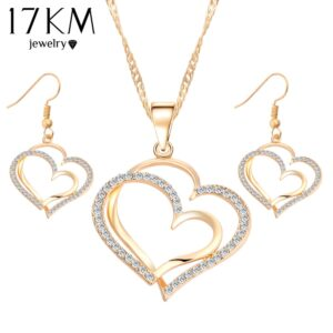 17KM-Romantic-Heart-Pattern-Crystal-Earrings-Necklace-Set-Silver-Color-Chain-Jewelry-Sets-Wedding-Jewelry-Valentine