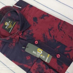 Denim Printed Shirt – Berry Red – SLV