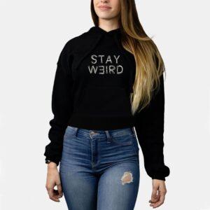 Female Crop Top Hoodie – Stay Weird – Black – PDL